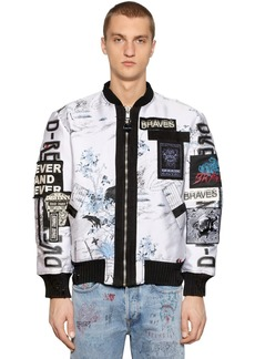 Diesel Zip-up Graffiti Jacquard Bomber Jacket