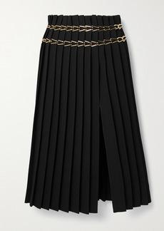 Dion Lee Chain-embellished Pleated Crepe Midi Skirt