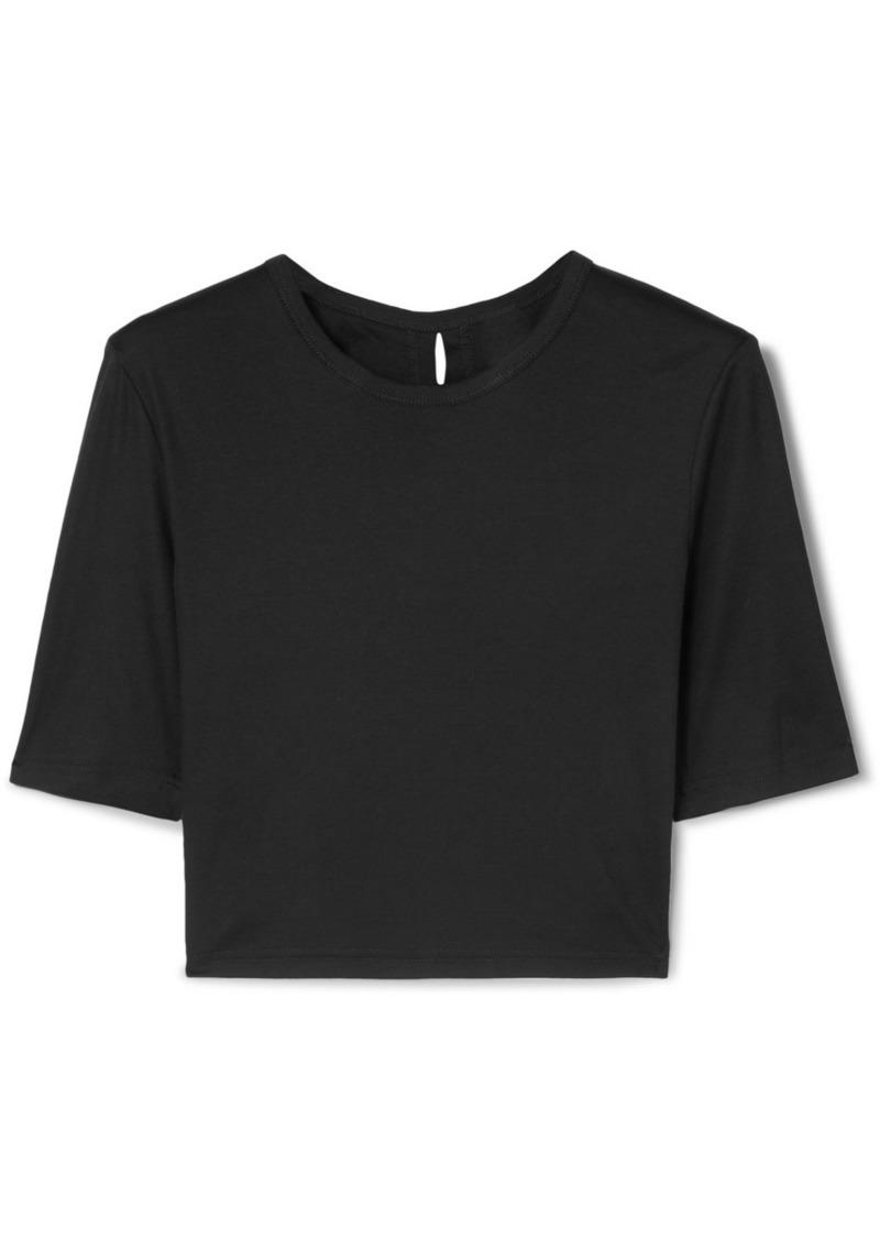 Cropped Twist-back Cotton-jersey T-shirt