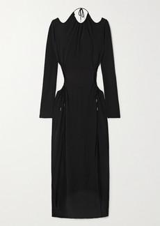 Dion Lee Cutout Gathered Jersey Maxi Dress