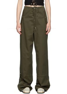 Dion Lee Khaki Eyelet Tie Parachute Trousers