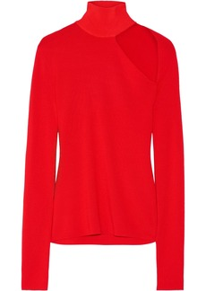 Dion Lee Woman Cutout Merino Wool-blend Turtleneck Top Tomato Red