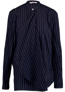 Dion Lee Woman Draped Pinstriped Woven Cotton Shirt Midnight Blue