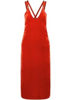 Dion Lee Woman Grosgrain-trimmed Velvet Midi Dress Red