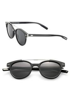 DIOR HOMME Black Tie 220 51MM Round Panto Sunglasses