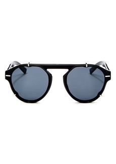 Dior Homme Men's Black Tie Flat Top Round Sunglasses, 62mm