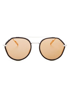 Dior Homme Men's Vintage Mirrored Brow Bar Round Sunglasses, 52mm