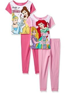 Disney Baby Big Girls Multi-Princess 4-Piece Cotton Pajama Set