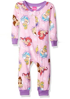 Disney Baby Girls Multi-Princess Cotton Non-Footed Pajama  12M