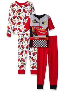 Disney Big Boys' Cars 4 Piece Cotton Pajama Set Cars Red