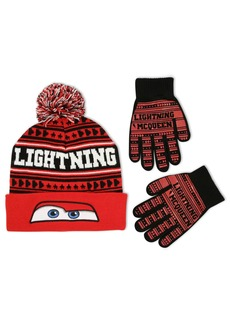 Disney Little Boys Cars Lightning McQueen Winter Beanie Hat and Gloves Set  Age 4-7