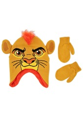 Disney Little Boys The Lion Guard Kion Acrylic Hosiery Knit Winter Character Shaped Contoured Short Hat with Pinched Knit Ears and Matching Mitten Set Orange