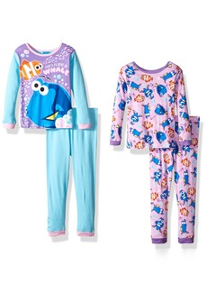 Disney Big Girls' Finding Dory 4-Piece Cotton Pajama Set Pink
