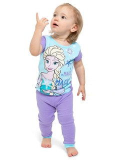 Disney Girls' Big Frozen Elsa 4-Piece Cotton Pajama Set