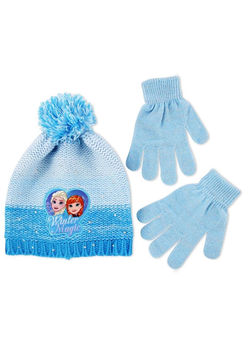 Disney Big Girls Frozen Princess Anna and Elsa Winter Beanie with Matching Glove Set