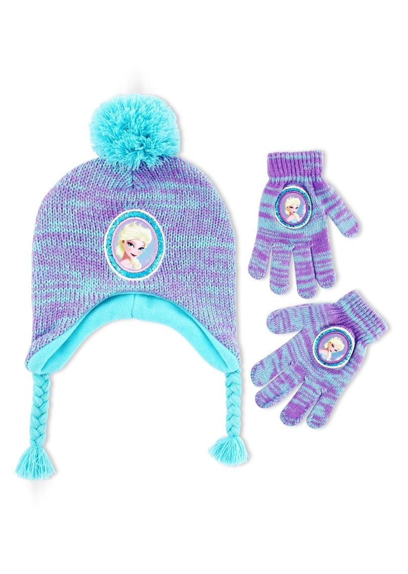 Disney Big Girls Frozen Princess Elsa Marled Acrylic Knit Laplander Winter Hat With Solid Knit Jumbo Pom and Matching Glove Set  One Siz
