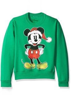 Disney Big Girls' Mickey Xmas Mouse Christmas Crew Fleece Pullover  L