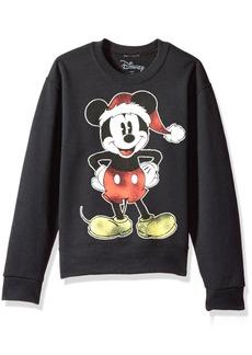 Disney Big Girls' Mickey Xmas Mouse Christmas Crew Fleece Pullover  S