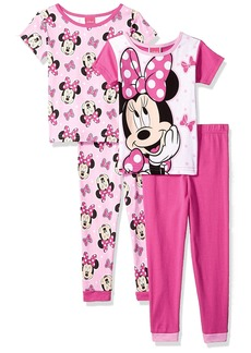 Disney Big Girls' Minnie Mouse 4-Piece Cotton Pajama Set