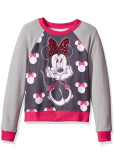 Disney Girls' Big Minnie Mouse Hacci Sequin Pullover Black/Heather Grey/red
