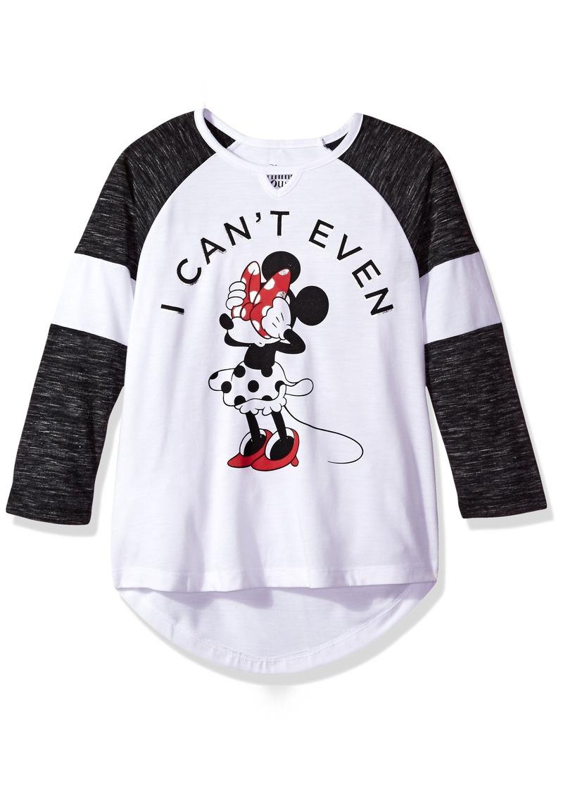 35e540f0883f66 Disney Disney Big Girls  Minnie Mouse Long Sleeve Raglan Top Now  14.00