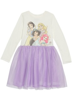 Disney Little Girls Princess Sparkle Dress with Mesh Skirt