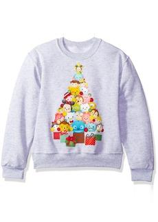 Disney Big Girls' Tsum Christmas Tree Crew Fleece Pullover  L