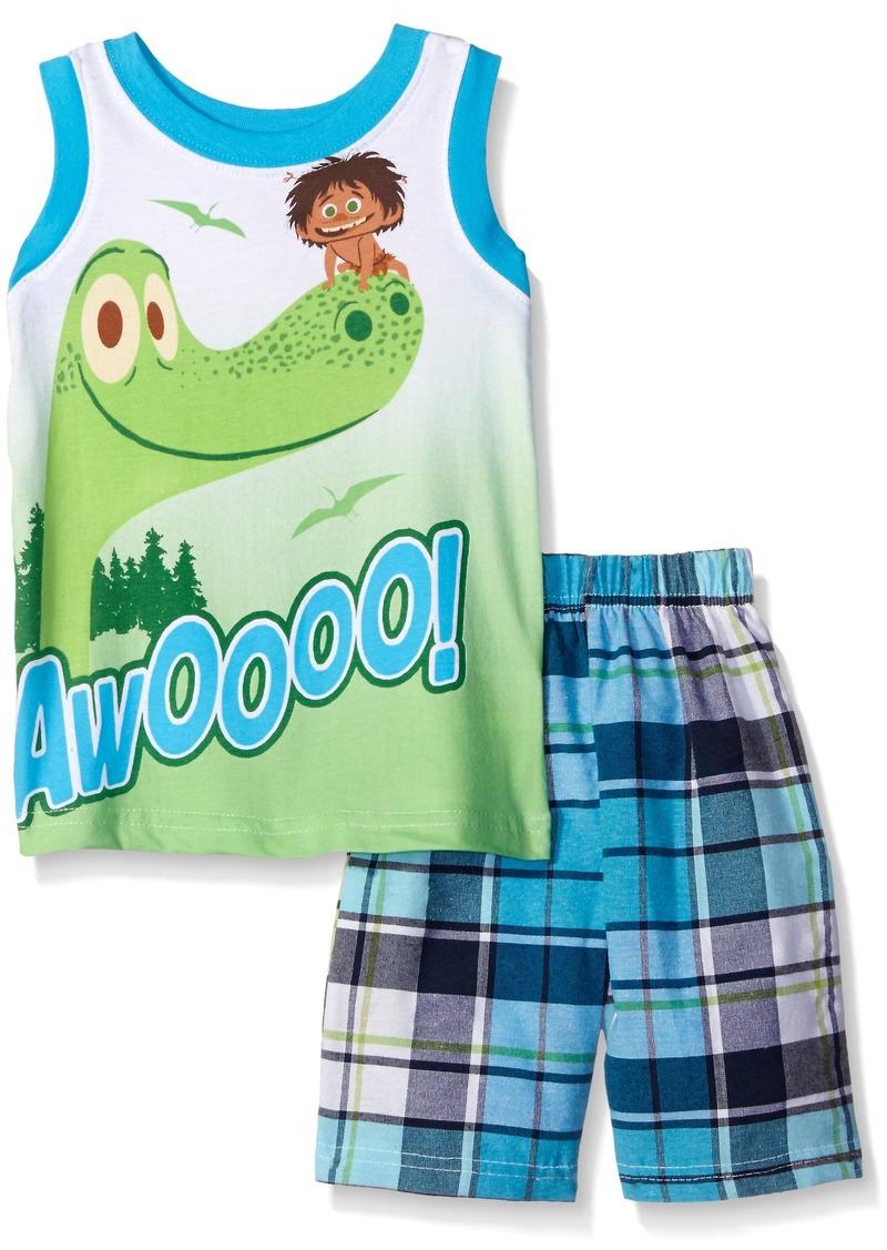 Disney Little Boys' Toddler 2 Piece Plaid Muscle T-Shirt Short Set
