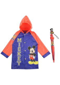 Disney Little Boys Mickey Mouse Character Slicker and Umbrella Rainwear Set  4-5