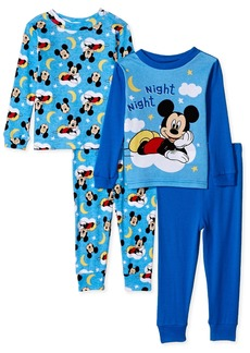Disney Boys' Toddler Mickey Mouse 4-Piece Cotton Pajama Set