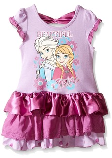 Disney Little Girls' Beautiful Sister Elsa And Anna Eyelet And Satin Dress