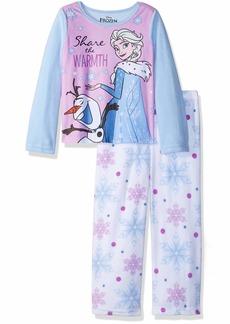 Disney Girls' Big Frozen Elsa 2-Piece Fleece Pajama Set