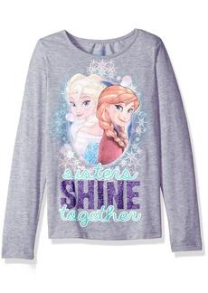 Disney Girls' Big Girls' Frozen Long-Sleeved Crew Neck T-Shirt  L