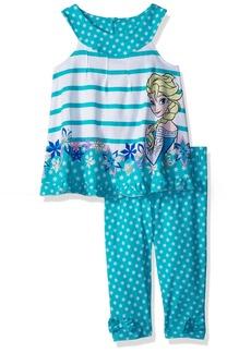 Disney Girls' Little Frozen Elsa 2 Piece U-Neck Legging Set