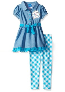 Disney Girls' Frozen 2-Piece Legging Set Chambray  6X