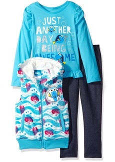 Disney Little Girls' Toddler 3 Piece Finding Dory Vest and Pant Set