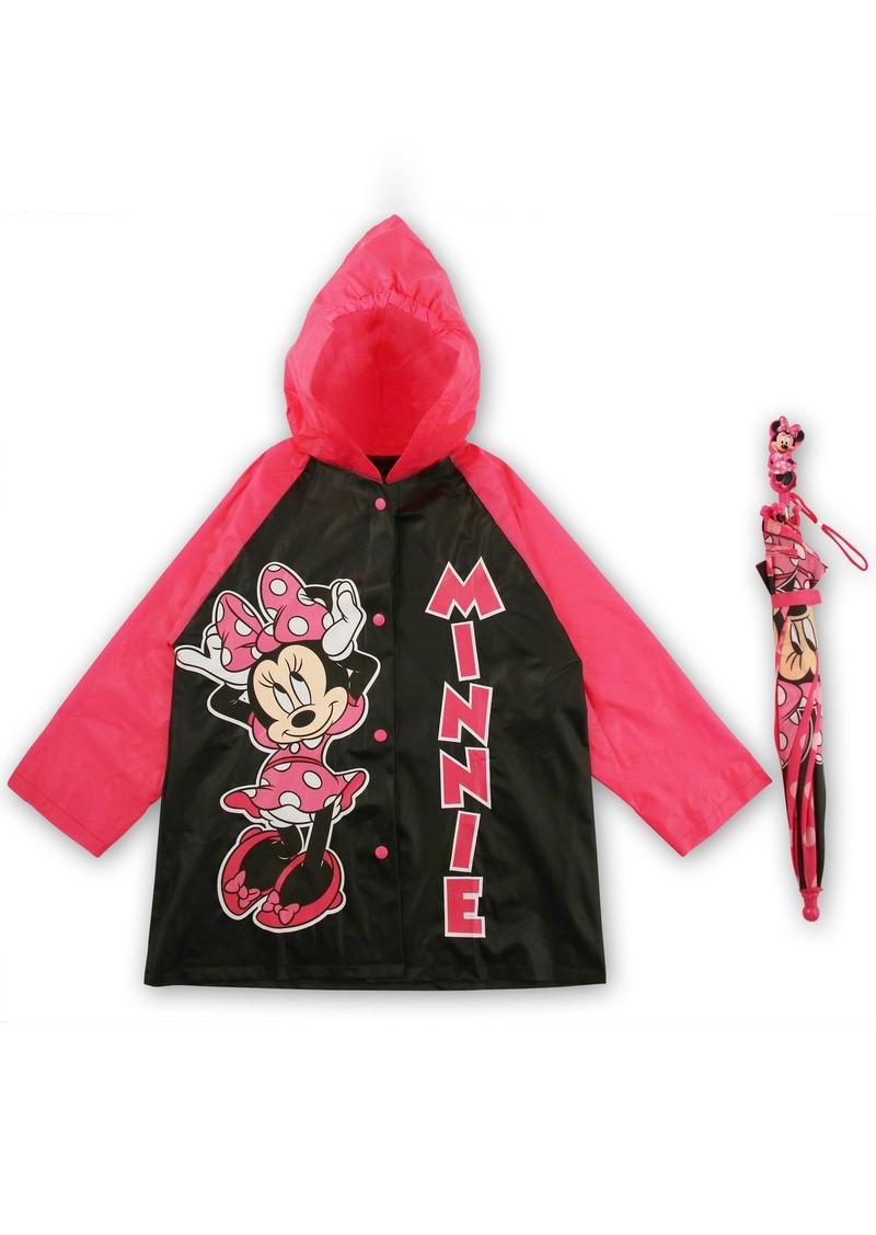 Disney Little Girls Frozen or Minnie Mouse Slicker and Umbrella Rainwear Set Age 2-7