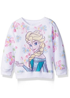 Disney Toddler Girls' Froze Elsa Floral All Over Print French Terry Sweatshirt