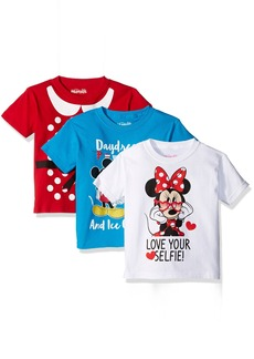 Disney Little Girls' Toddler Minnie Mouse 3-Pack Short Sleeve T-Shirts