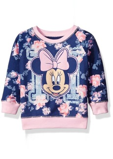 Disney Little Girls' Toddler Minnie Mouse Floral All Over Print French Terry Sweatshirt