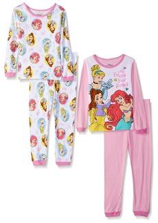 Disney Girls' Toddler Multi-Princess 4-Piece Cotton Pajama Set