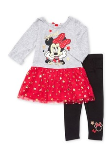 Disney Junior Little Girl's Two-Piece Minnie Tunic & Leggings Set