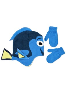 Disney Toddler Boys Finding Dory Character Shaped Jersey Knit Winter Scandinavian Hat With Matching Mitten Set