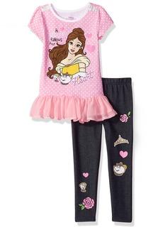 Disney Little Girls' 2 Piece Belle Short Sleeve Legging Set