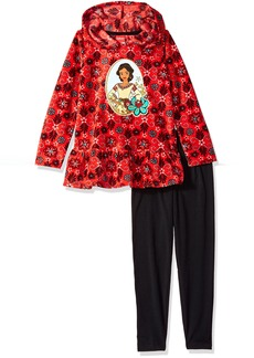 Disney Little Girls' 2 Piece Elena Of Avalor Fleece Hoodie With Applique and Pant