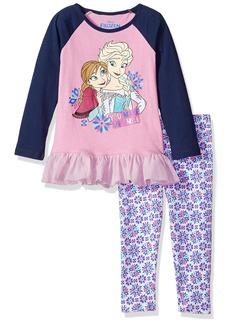 Disney Little Girls' 2 Piece Frozen Anna and Elsa Legging Set with Chiffon Ruffle