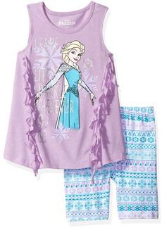 Disney Little Girls' 2 Piece Frozen Bike Short Set