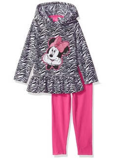 Disney Little Girls' 2 Piece Minnie Mouse Fleece Hoodie With Applique and Pant