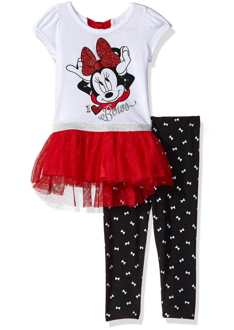 22e6c7abeb2ed Disney Little Girls' 2 Piece Minnie Mouse Tunic with Tulle Legging Set