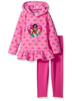 Disney Little Girls' 2 Piece Princess Fleece Hoodie With Applique and Pant